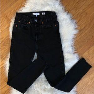 RE/DONE High Waist Raw Hem Jeans